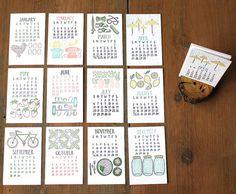 2014 Letterpress Calendar with Wood Stump van 1canoe2 op Etsy, $26.00