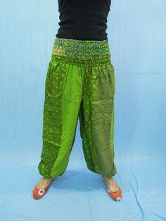 Women Silk Sari Patchwork Harem Trouser Pants Baggy by Labhanshi, $25.00