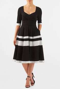I <3 this Colorblock cotton knit sweetheart empire dress from eShakti