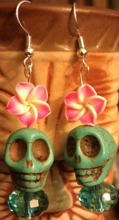 Skull skull earrings day of the dead dia de los by msformaldehyde, $14.00