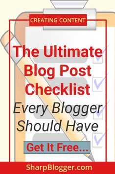 The beauty of having a handy blog post checklist is that you can publish error-free and super optimized blog posts for your readers. More than that it'll become your habit. Once it becomes a habit you can optimize all of your posts without having a look at your checklist.  Read the post to learn more…  You can also download the checklist that I've prepared for you.  #blogpost #Checklist #sharpblogger How To Get, Content, Blog