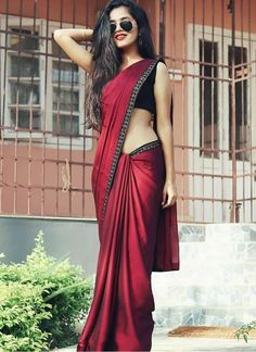 Modern Saree Styles You are in the right place about Saree Styles in pakistan Here we offer you the most beautiful pictures about the Saree Styles black you are looking for. When you examine the Modern Saree Styles part of[. Simple Sarees, Trendy Sarees, Stylish Sarees, Fancy Sarees, Simple Saree Designs, Saree Wearing Styles, Saree Styles, Sari Dress, The Dress
