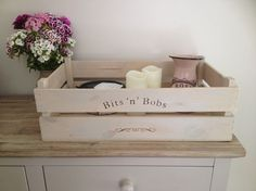 Bits n Bobs apple crate, fruit crate, storage crate, rustic, apple crate, shabby chic, wooden crate, bushel box
