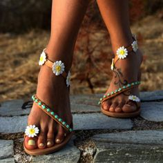 Women Flower Sandals Casual Comfort Plus Size Flip Flop Shoes Boho Sandals a16038e90383