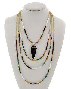 Antique Gold Tone / Multi Color Glass Crystal & Black Semi-precious Stone / Lead Compliant / Multi Row / Western Theme / Arrowhead / Necklace