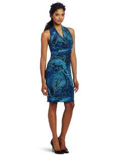 Anne Klein Women's Cowl Neck Printed Jersey Dress, Blue, 6