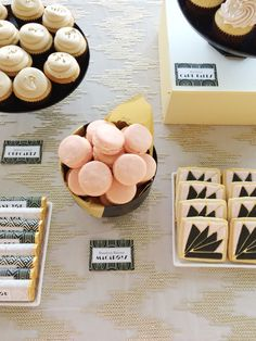 Art Deco dessert table in pink, black, and gold | Shauna Younge