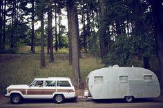 Jeep Grand Wagoneer and vintage travel trailer My Dream Car, Dream Cars, Dream Life, Home Design, Idaho, Fifth Wheel Trailers, Vintage Travel Trailers, Vintage Campers, Vintage Caravans