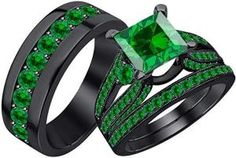 Men & Women's Beautiful Wedding Halo Trio Ring Band Set in Black Gold Plated Sterling Silver With Princess Shaped cttw Emerald Mens Emerald Rings, Emerald Stone, Rose Gold Diamond Ring, Rose Gold Engagement Ring, May Birthstone Rings, Tungsten Wedding Bands, Morganite Ring, Topaz Ring, Silver Man