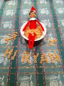 Last minute idea...writing name with cereal