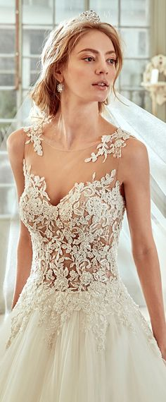 Glamorous Tulle & Satin Bateau Neckline See-through A-Line Wedding Dresses With Beaded Lace Appliques