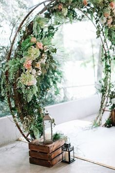 wedding flower wreath wedding arch archandvow. Looks like a love portal!