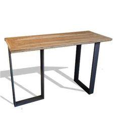 Mange debout exceptionnel de par sa grande taille, 180 cm en longueur ! Dimensions idéales pour une table haute, long et étroit : 180 x 70 x 105(h) cm Le plateau est en teck, les pieds sont en acier