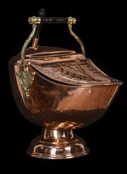 Victorian Copper Embossed Coal Scuttle. English. copper. excellent condition. circa 1890