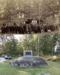 The first regimental marker on the field was the 2nd Mass monument located on the edge of Spangler's Meadow on Culp's Hill. Dedicated in 1879 you see the veterans surrounding their monument along with a similar view from September, 2013.