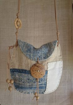 Your place to buy and sell all things handmade Indigo hemp textile patchwork pouch Boho Bags, Patchwork Bags, Denim Bag, Fabric Bags, Cloth Bags, Indigo, Handmade Bags, Handmade Crafts, Natural Linen
