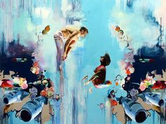 Chloe Early, Supernova, Oil on linen, 72 x 96 in. Exhibition Chloe Early: Feathers and Wax, October 20 to November 2011 at the Joshua Liner Gallery Kunst Online, Museum, Art Boards, Art Drawings, Picnic, Illustration Art, Illustrations, Fine Art, Chloe