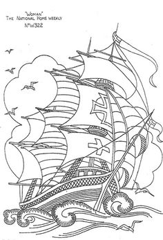 Explore bcampbell_to's photos on Flickr. bcampbell_to has uploaded 5095 photos to Flickr. Coloring Book Art, Cool Coloring Pages, Adult Coloring Pages, Ship Drawing, Line Drawing, Embroidery Patterns Free, Vintage Embroidery, How To Make Stickers, Laser Art