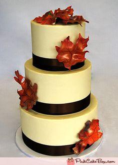 Autumn Fall Leaf Wedding Cake