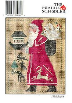 The Prairie Schooler Cross Stitch Patterns & Instructional Media Vintage Cross Stitches, Counted Cross Stitch Patterns, Cross Stitch Designs, Cross Stitch Embroidery, Santa Cross Stitch, Cross Stitch Christmas Stockings, Christmas Cross, Father Christmas, Christmas Ideas