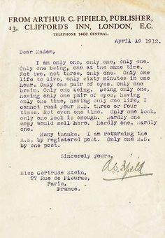 Publisher to Gertrude Stein