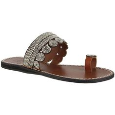 Mia Athens Leather Toe Ring Sandals ($69) ❤ liked on Polyvore featuring shoes, sandals, clear multi, slip on shoes, leather slip on sandals, leather shoes, embellished sandals and embellished leather sandals