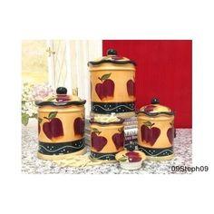 Kitchen Decor Country Apple 4pc Canister Set Ceramic Sealed Food Storage Fresh