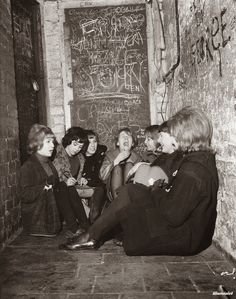 Girls waiting for The Beatles's lunchtime session, at the Cavern Club, ca. 1961.