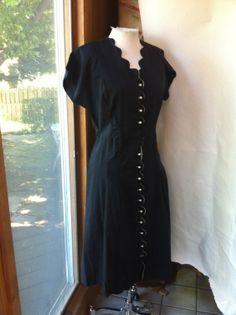 1950s button down black white dress fits sizes by AtlanticAtlantic, $46.12