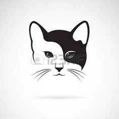 Vector of a cat face design on white background, Pet. Easy editable layered vector illustration: compre este vector en Shutterstock y encuentre otras imágenes. Gatos Vector, Silhouette Chat, Animal Line Drawings, Cat Tattoo Designs, Image Chat, Face Design, Stencil Painting, Animal Logo, Cat Drawing