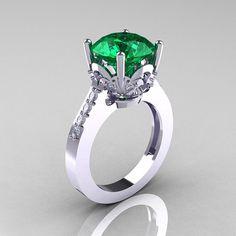 Classic 10K White Gold 3.0 Carat Emerald Diamond Solitaire Wedding Ring R301-10KWGDEM