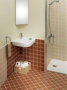 Brown And Beige Tiled Bathroom With Corner Mounted Sink Bathroom Accessories Luxury, Faucet, Sink, Vanity, Corner, Beige, Shower, Brown, Home Decor