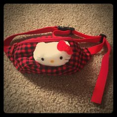 """Vintage Hello Kitty Fannypack Vintage, plaid Hello Kitty fanny pack! Probably fits a 28"""" waist or size 8 jeans. However i think this may be for kids!  In great condition! 9/10. Buy/ make an offer today! Bags"""