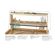 """Benchtop Organizer -  I love the idea of teh bar..  I need some better solution for tool storage other than """"just tossed on the bench somewhere"""""""