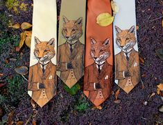 Tie - Dapper Fox Necktie - Mens Fox Tie  A stylish, handsome fox adorns this original necktie. Hes suave and sophisticated and wears a tweed