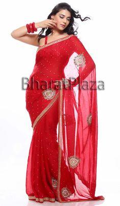 Prominent Red Chiffon Saree