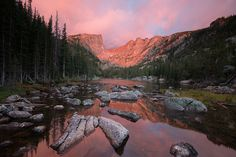 A fiery sunrise shines upon the mountain backdrop beyond Dream Lake at Rocky Mountain National Park. Brian Scottberg, Your Take
