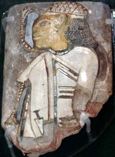 Ceramic tile depicting a Levantine, from the temple of Ramesses III ( Reign 1186–1155 BCE) 20th Dynasty.