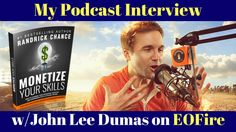 My interview with the legencday John Lee Dumas of Entrepreneur on Fire (EOFire)isLIVE!Join thousands of Fire Nation faithful listeners today and let's CRUSHit with this message. #1684: Leverage Your Education, Expertise, and Experiences Into A 6-Figure+ Income BTW, it would ROCK if you shared this message becasue it's bound to help liberate someone today. It's…Continue Reading →