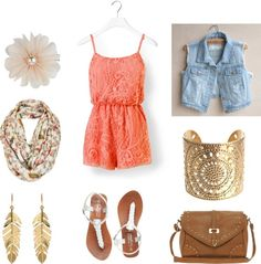 """""""peach romper outfit"""" by polkadots99 on Polyvore"""