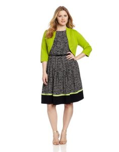 Jessica Howard Women`s Plus-Size Sleeveless Belted Plus Dress With Sweater (bestseller)