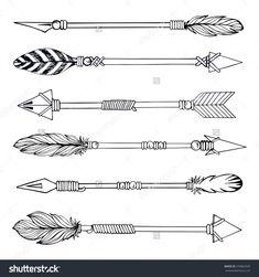 Tribal Indian Arrow Set. Ethnic Hand Drawn Vector Illustration ...