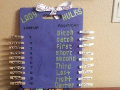 Girls Softball positions/lineup organizer board!! Made from a kitchen cutting board, painted, and clothespins