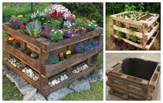 How to make a DIY garden bed from pallets - Blumenbeete Ideen 2020 Herb Garden Pallet, Diy Garden Bed, Diy Herb Garden, Vegetable Garden Design, Pallets Garden, Garden Crafts, Diy Garden Decor, Raised Garden Beds, Garden Projects