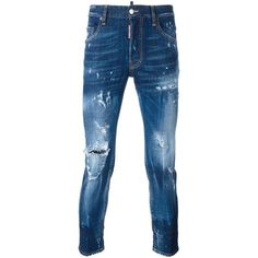 dsquared2 Denim Jeans (535 CAD) ❤ liked on Polyvore featuring men's fashion, men's clothing, men's jeans, denim blue, mens destroyed jeans, mens distressed jeans, mens blue ripped jeans, mens short jeans and mens button fly jeans