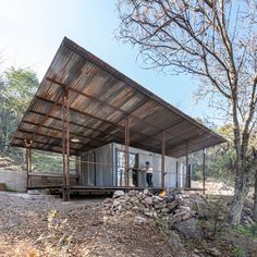 Printed Concrete, Oil Pipe, Timber Cabin, External Cladding, Off Grid Cabin, Built In Furniture, Refuge, Wooden Cabins, Forest Floor