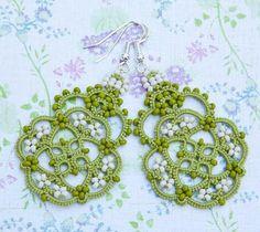 awesome green #chiacchierino #tatting #frivolite earrings #handmade