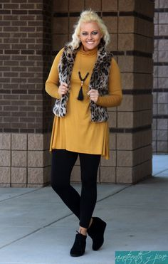 d8e0711fdaad Mustard Tunic * Leopard Faux Fur Vest * Fashion * Style * Fringe Necklace * NOJ  Boutique
