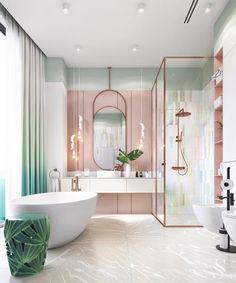 Нет сомнений, что мягкие пастельные цвета были популярной цветовой палитрой в 1990-х годах. Они сочетаются как с неоновыми оттенками, так и с насыщенными драгоценными тонами. Пастельные приглушенные тона имеют успокаивающую привлекательность, которая придает им сдержанную атмосферу, идеально подходящую не только для спальни, но и для общих зон, таких как кухни и ванные комнаты. Читайте статью в нашем блоге. #studia54 #interiordesign #designideas #inspiration #art #decor Home Room Design, Dream Home Design, Home Interior Design, Mansion Interior, Modern House Design, Interior Ideas, Dream Bathrooms, Dream Rooms, Teen Girl Bathrooms