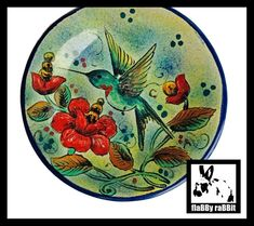 Hummingbird Mexican Plate Mayolica Santa Rosa Guanajuato   Etsy Hand Painted Pottery, Pottery Painting, Bird Wall Art, Vintage Birds, Hibiscus Flowers, Hummingbird, Rabbit, Decorative Plates, Santa